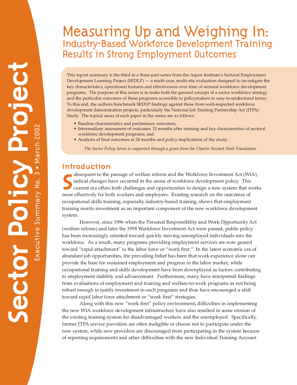 Sector Policy Project Executive Summary No 3 The Aspen Institute