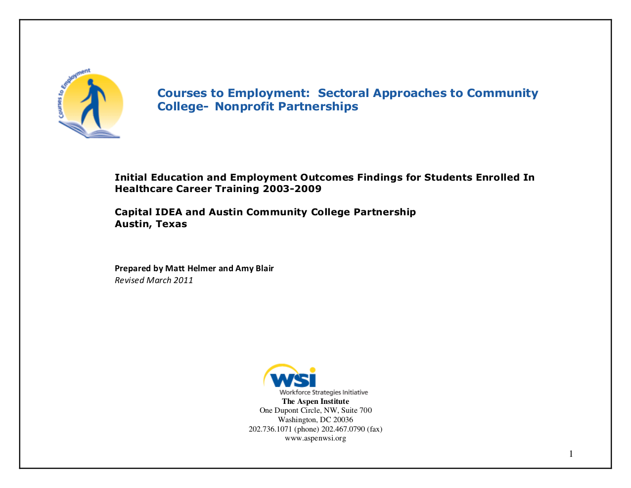 courses to employment: initial education and employment outcomes