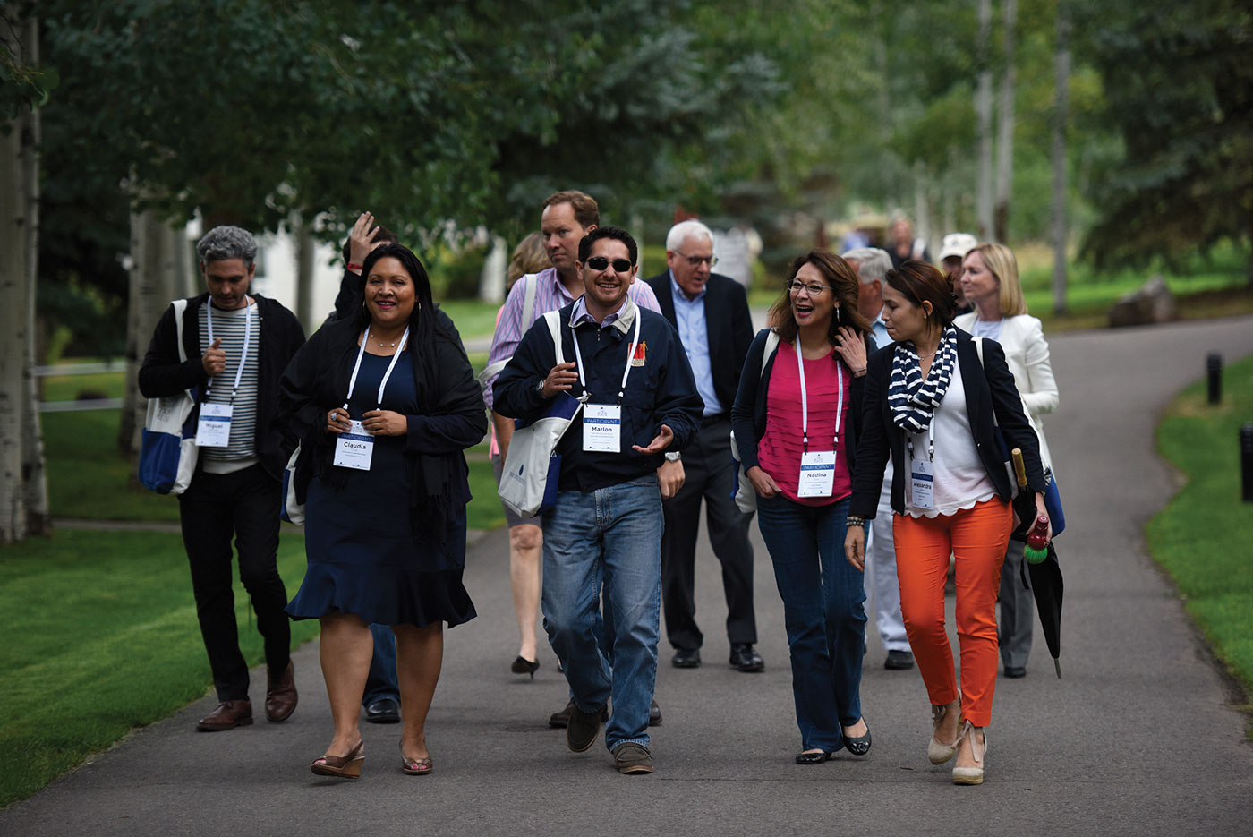 Aspen Action Forum attendees on a path