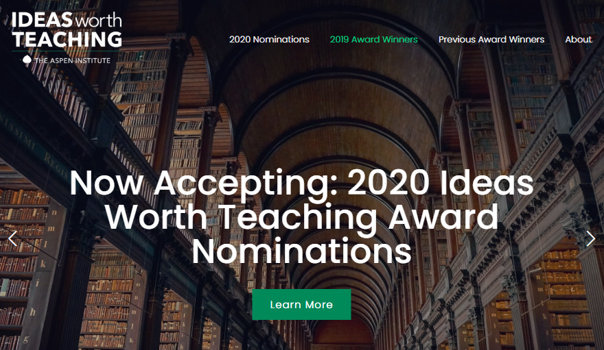 Now Accepting: 2020 Ideas Worth Teaching Award Nominations