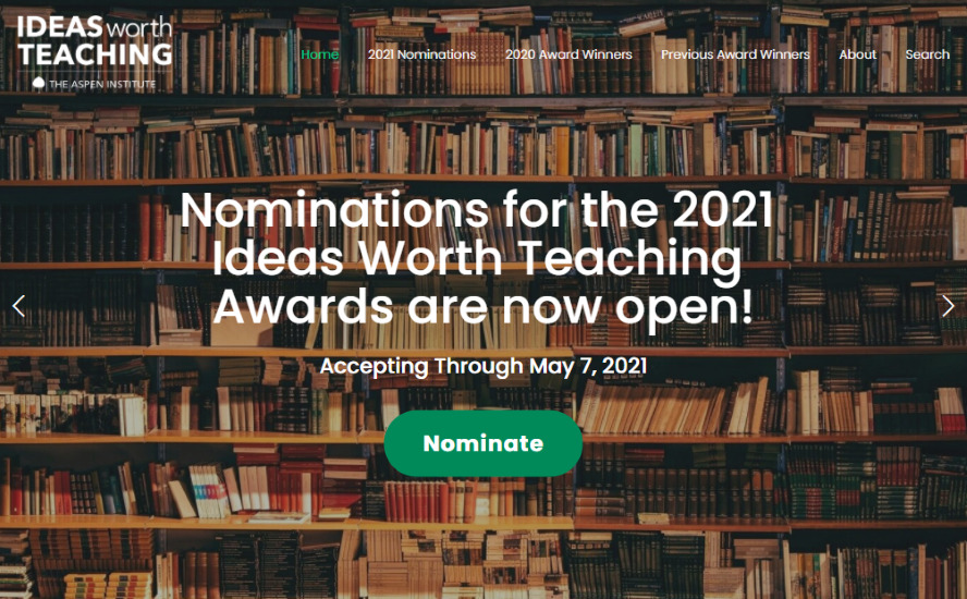 Call for Nominations: 2021 Ideas Worth Teaching Awards