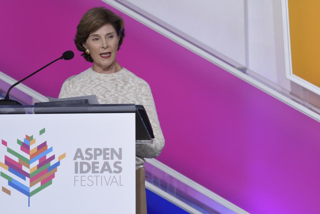 Former first lady Laura Bush speaks at the 2016 Aspen Ideas Festival (Photo Credit: Daniel Bayer/The Aspen Institute)