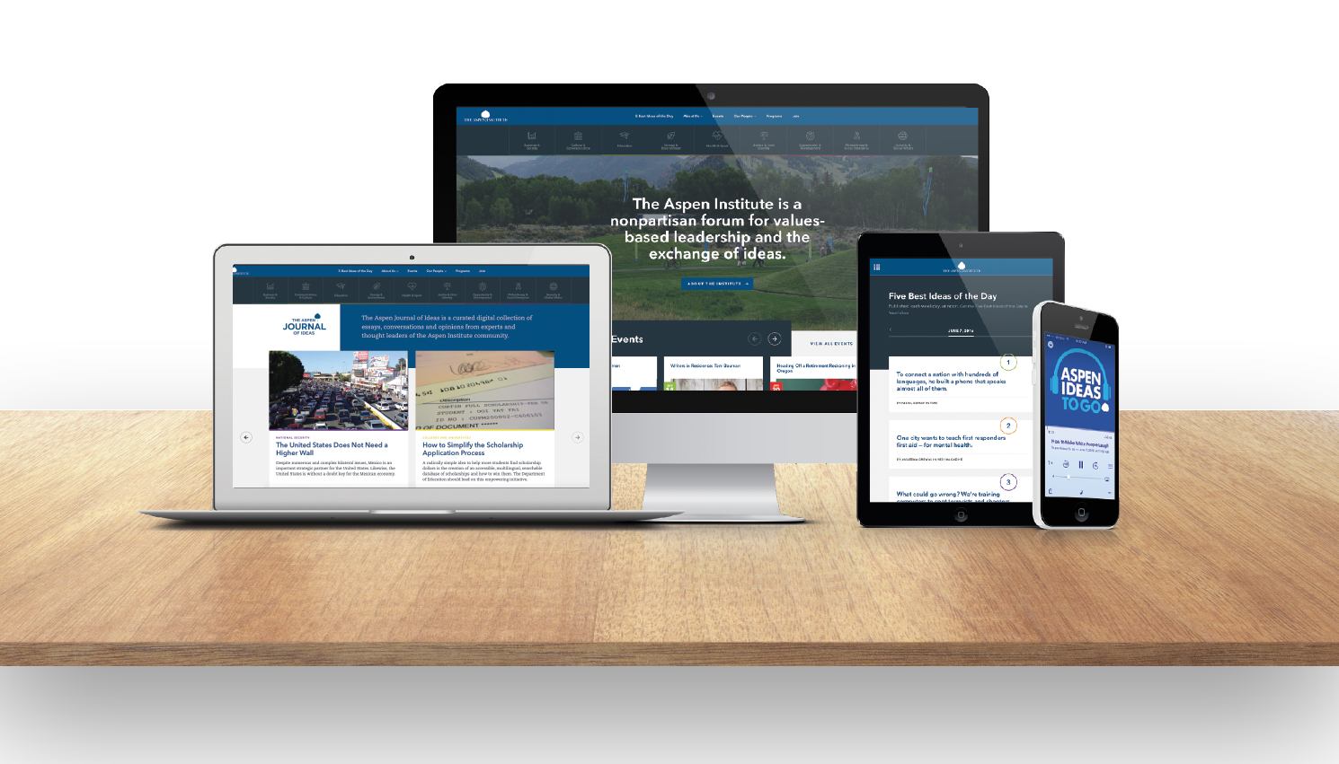 Website of the Aspen Institute displayed on various devices