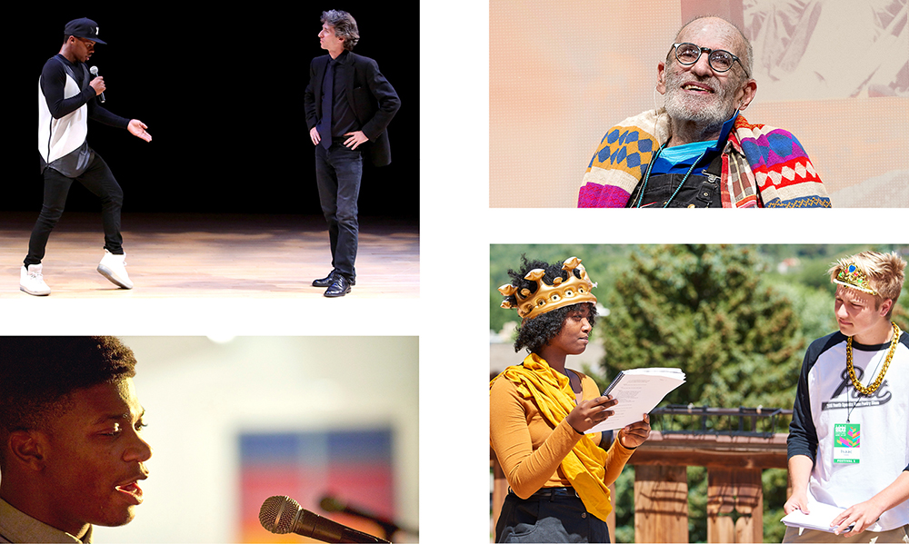 clockwise from top left: Damian Woetzel & Lil Buck; playwright Larry Kramer; CYLA seminar; young poets' performance