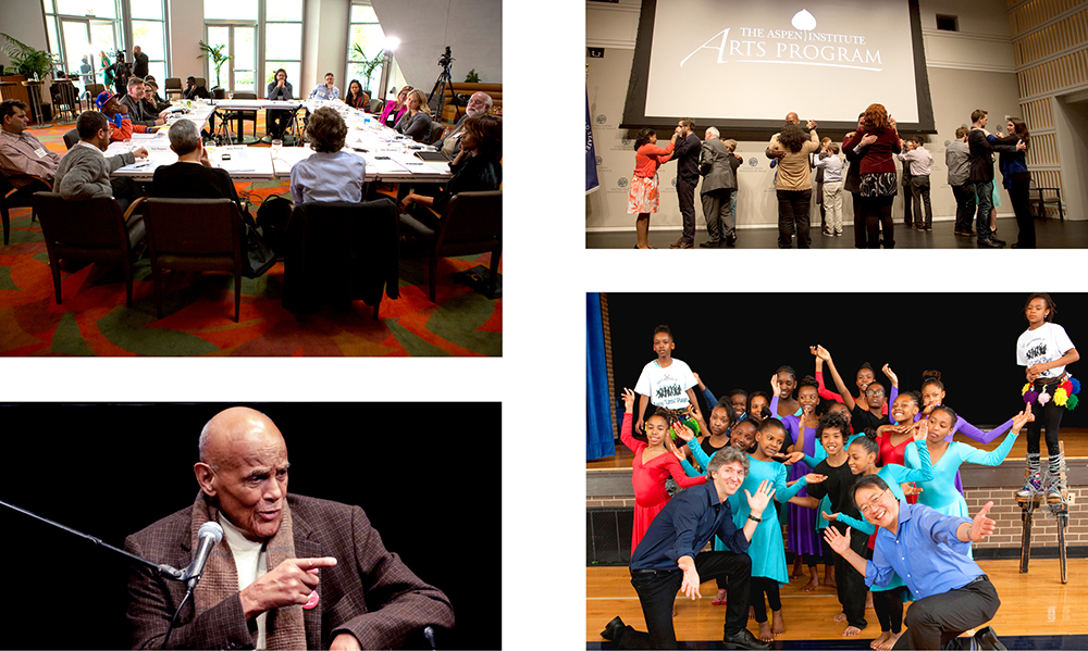 clockwise from top left: Strategy Group, Los Angeles; Dancing in Jaffa screening; Damian Woetzel and Yo-Yo Ma visiting Savoy Elementary; Harry Belafonte
