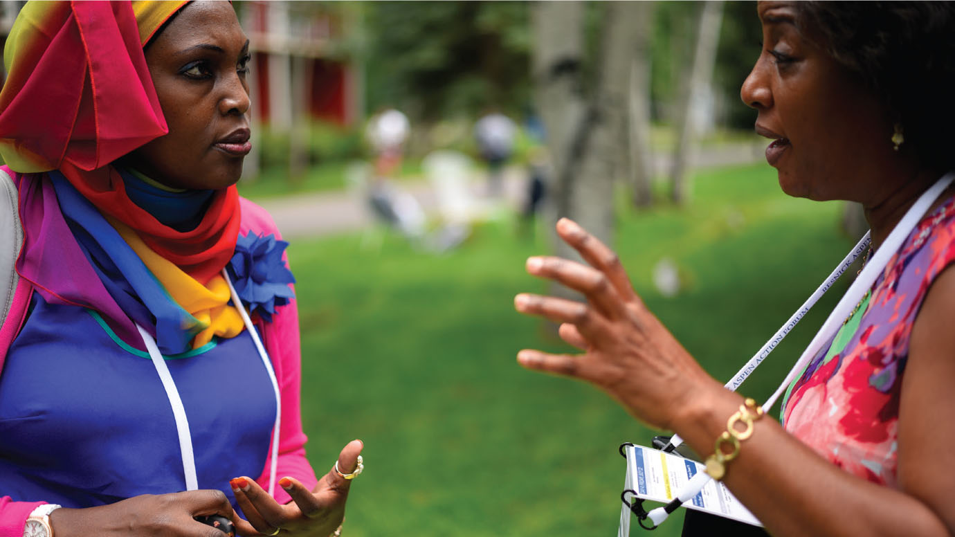 Rehman Kasule (left) and Mariam Luyombo of the Africa Leadership Initiative - East Africa