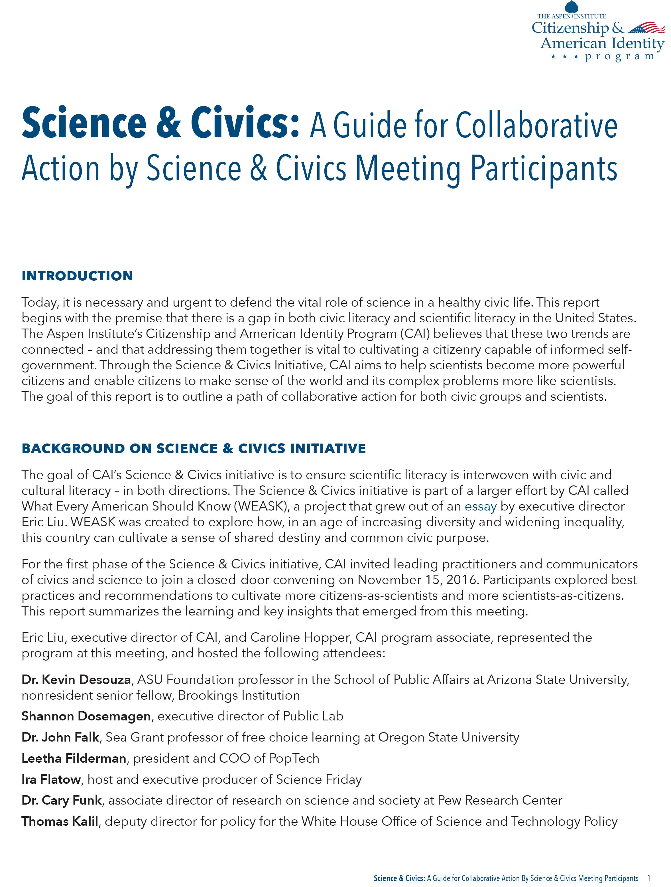 Science & Civics Guide