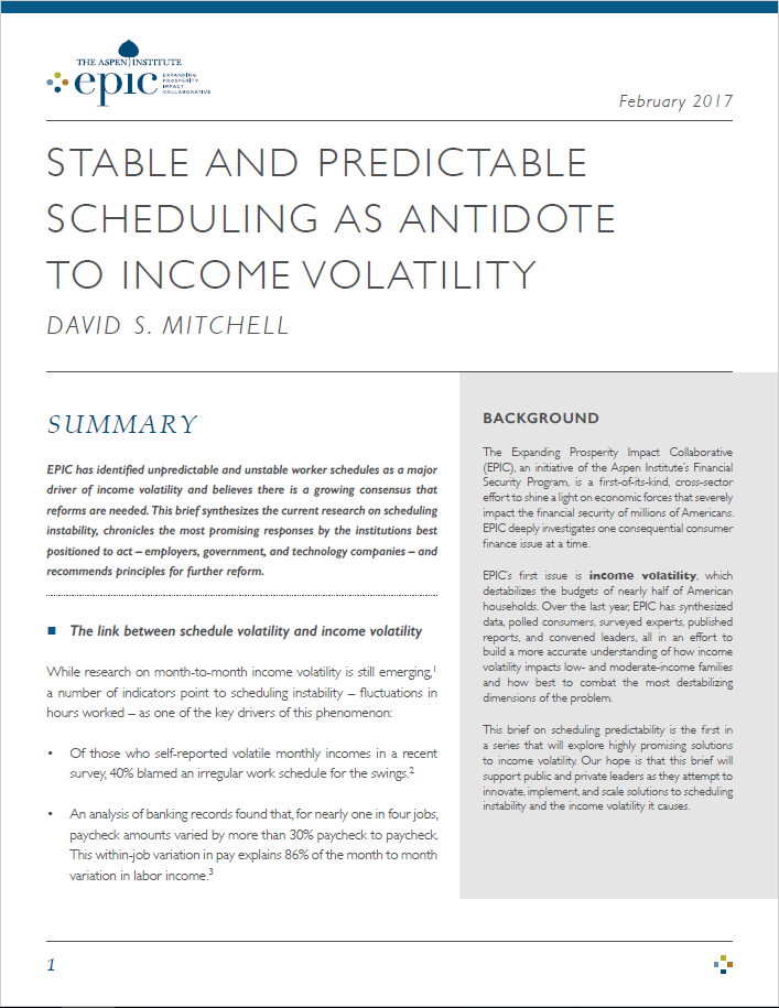Stable and Predictable Scheduling as Antidote to Income Volatility