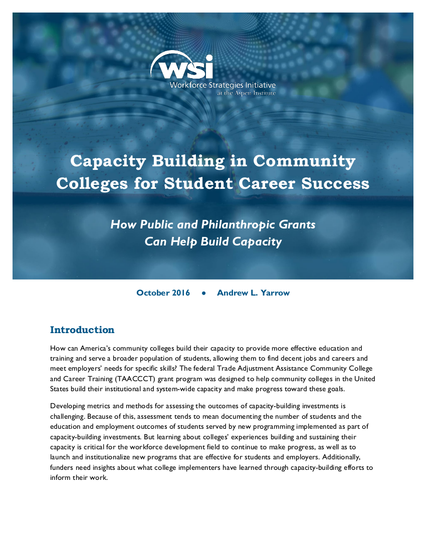 Capacity Building in Community Colleges