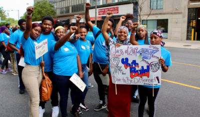 Students in YouthBuild Philadelphia Charter School's class of 2019. Reimagine Retail partner YouthBuild Philly works closely with retailers to strengthen their management practices and job quality, improving young people's retention and engagement.