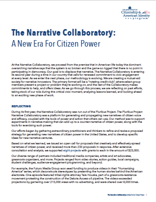The Narrative Collaboratory: A New Era For Citizen Power