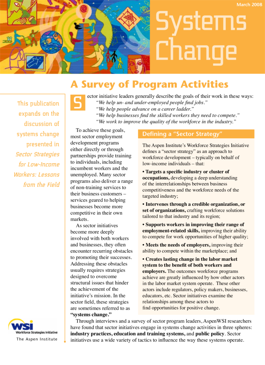 Systems Change: A Survey Of Program Activities
