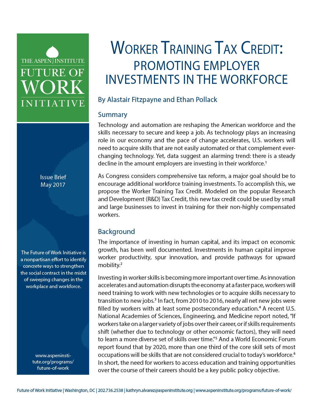 Worker Training Tax Credit: Promoting Employer Investments in the Workforce