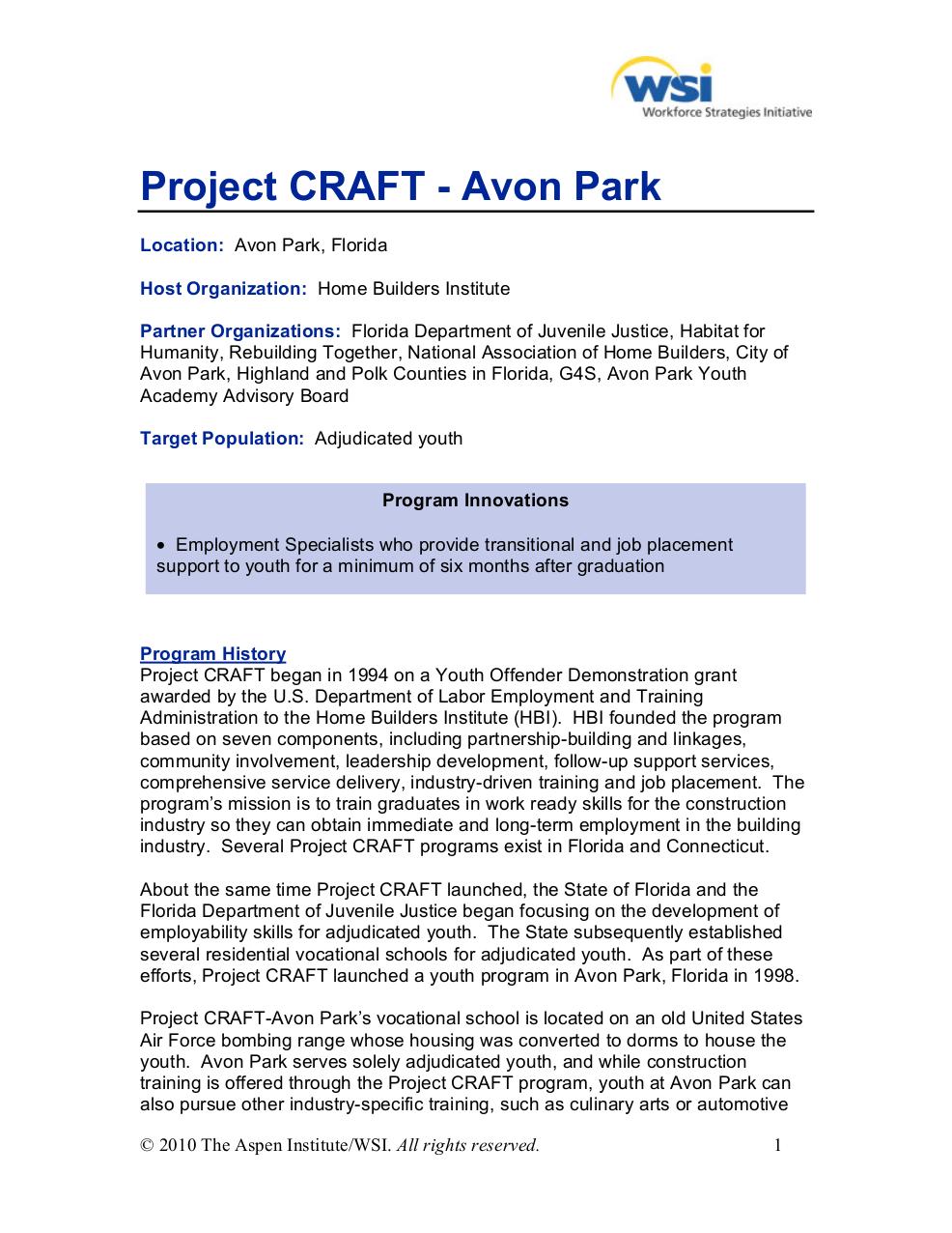 Project CRAFT Avon Park Fla