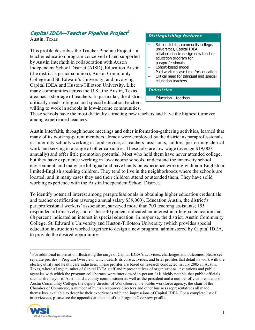 capital idea – teacher pipeline project (austin, tex.) - the aspen