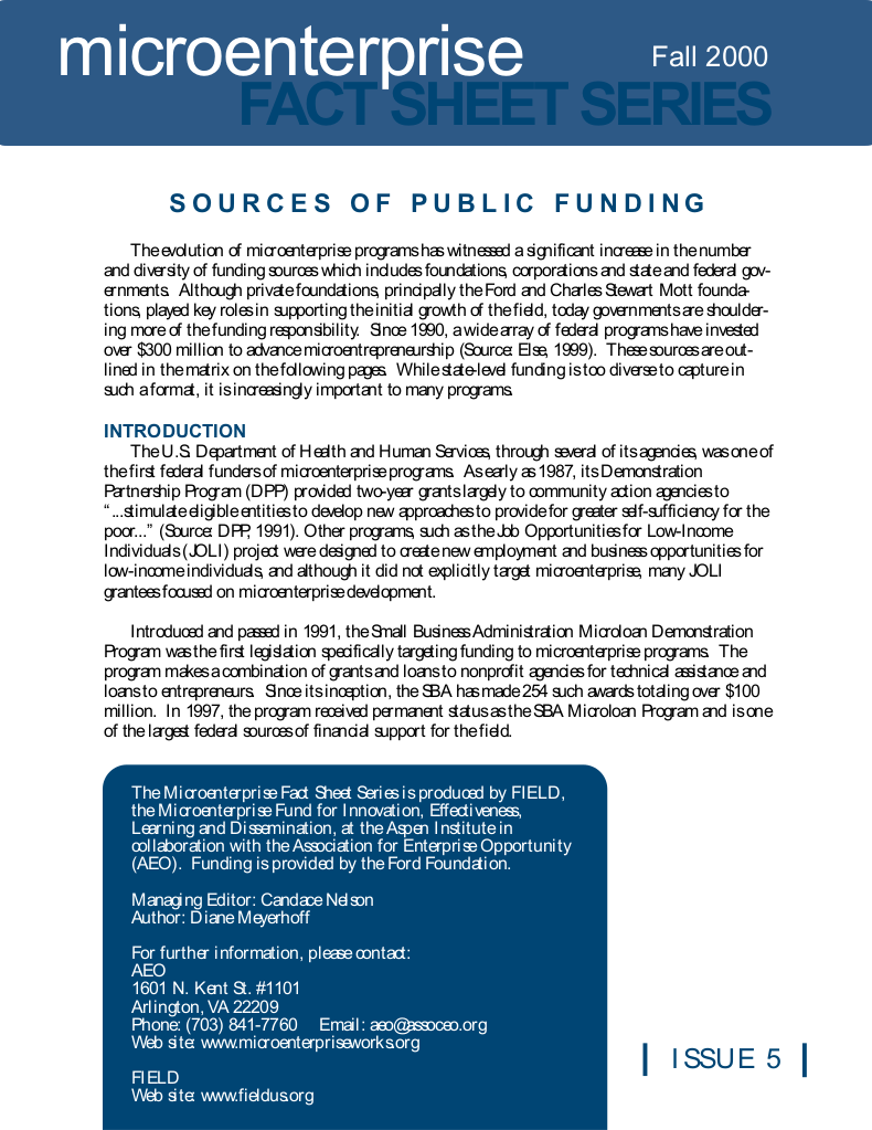 Sources of Public Funding
