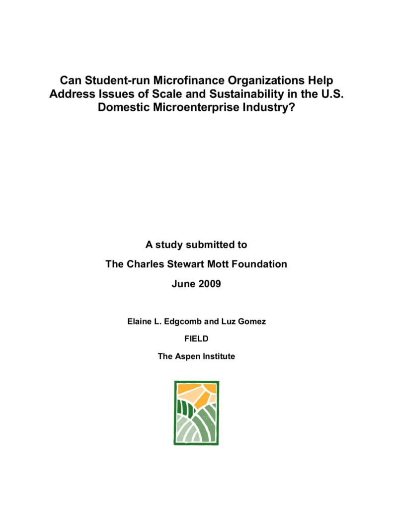 Scale & Sustainability of Student-run Microfinance