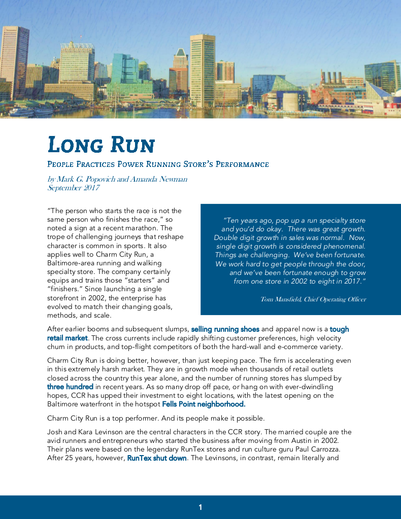 Long Run: People Practices Power Running Store's Performance