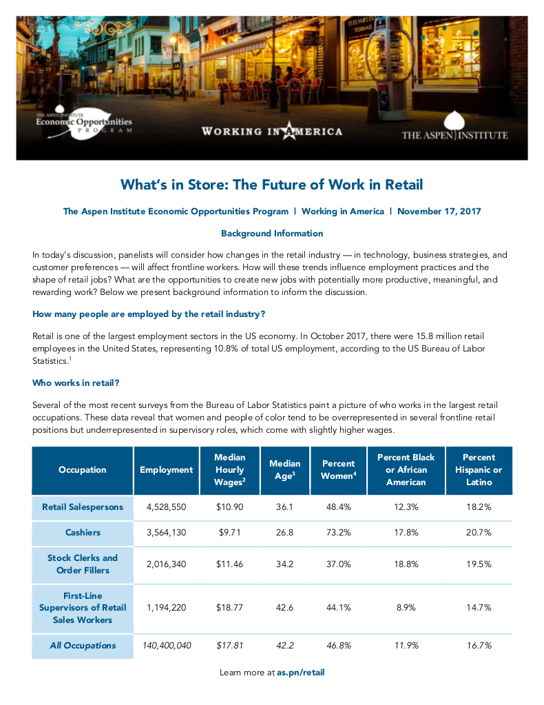 Background Info on the Future of Work in Retail