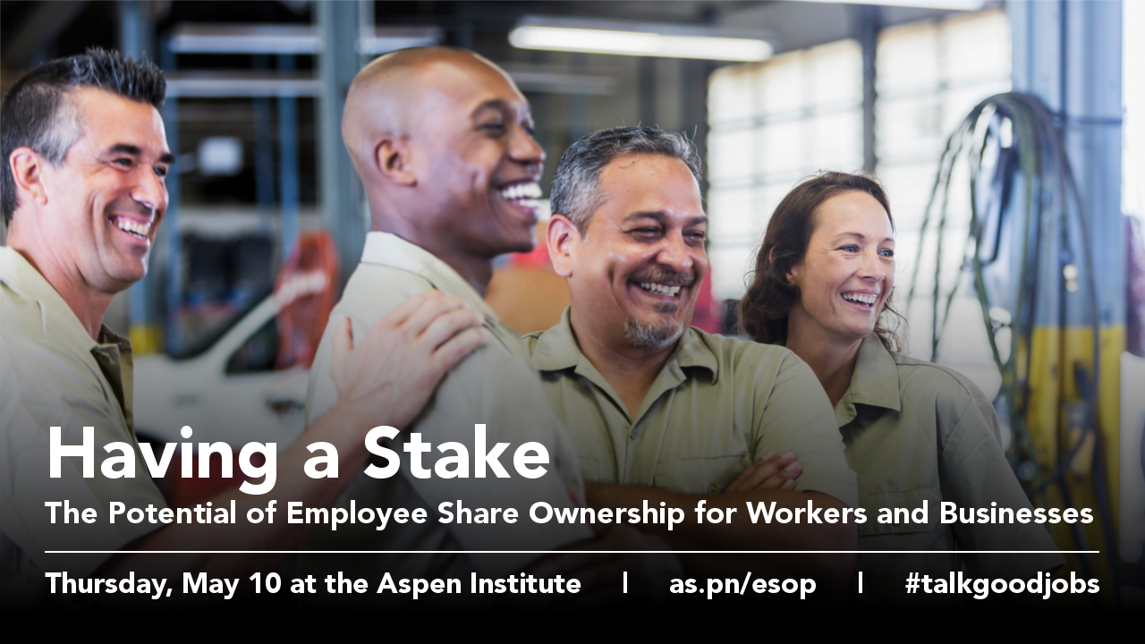 A group of smiling workers with text overlay (event name, date, URL, and hashtag)