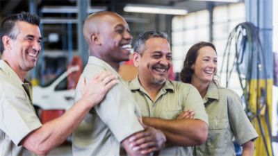 A group of smiling workers
