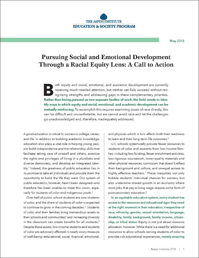 Social And Emotional Development Next >> Pursuing Social And Emotional Development Through A Racial Equity