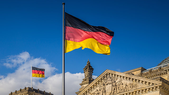 German flags at Reichstag
