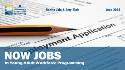 "Social media graphic for ' ""Now Jobs"" in Young Adult Workforce Programming', featuring title and report cover."