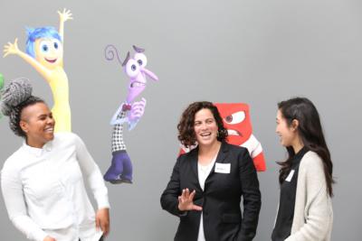 Nikki Katz talks with CODE: Rosie participants Leilenah Mamea and Christine Kang.