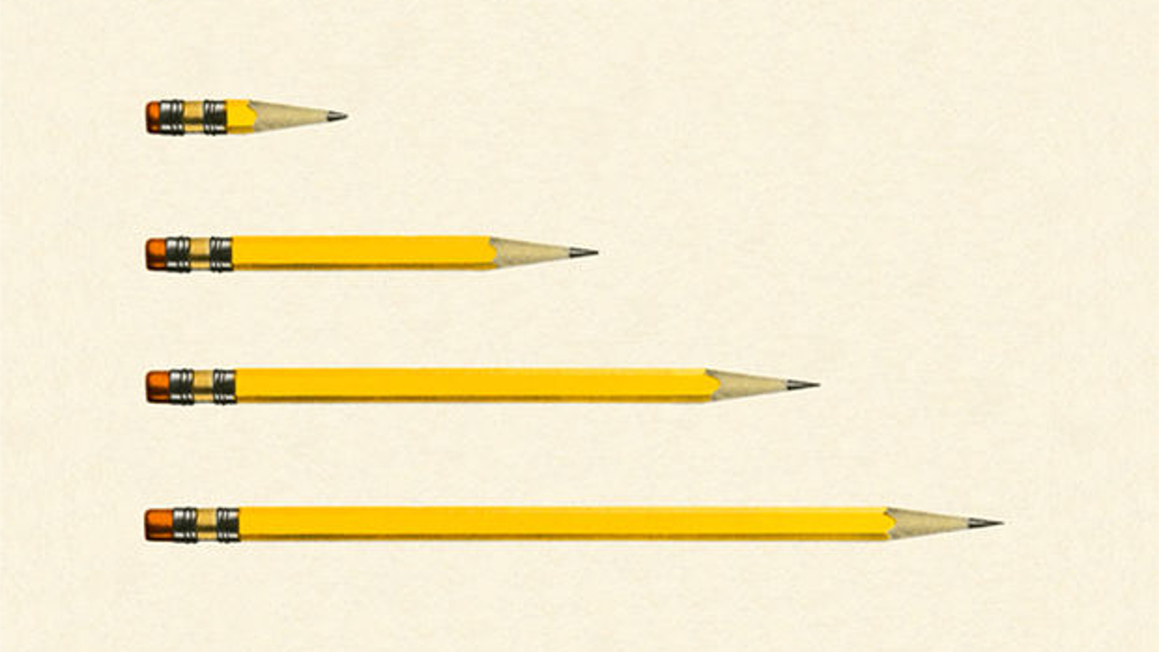 Row of pencils of different sizes
