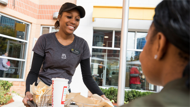 Smiling McDonald's employee