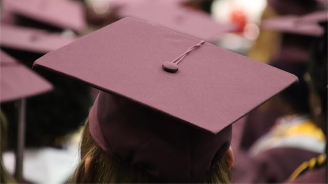 Student wearing graduation cap