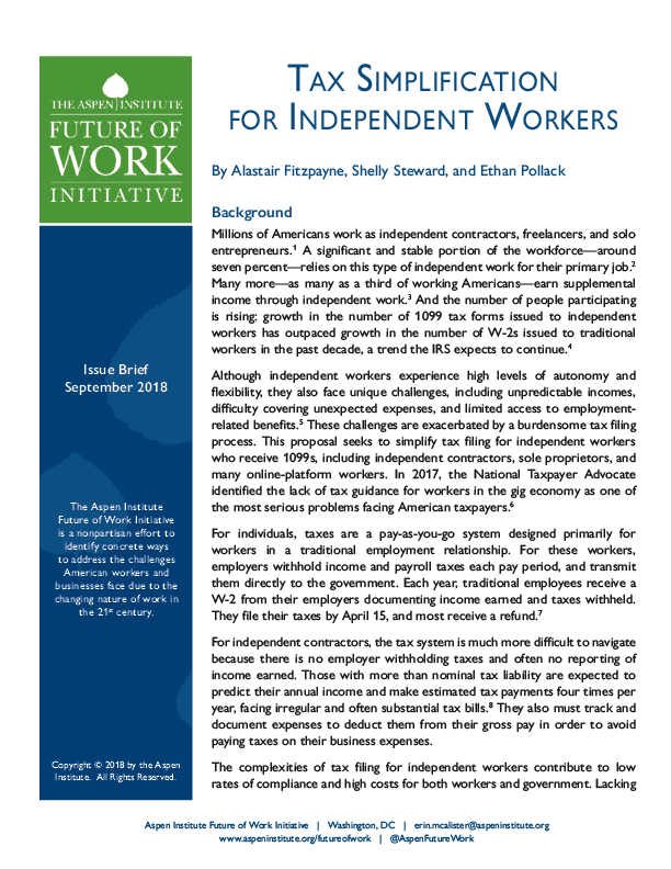 Tax Simplification For Independent Workers The Aspen Institute