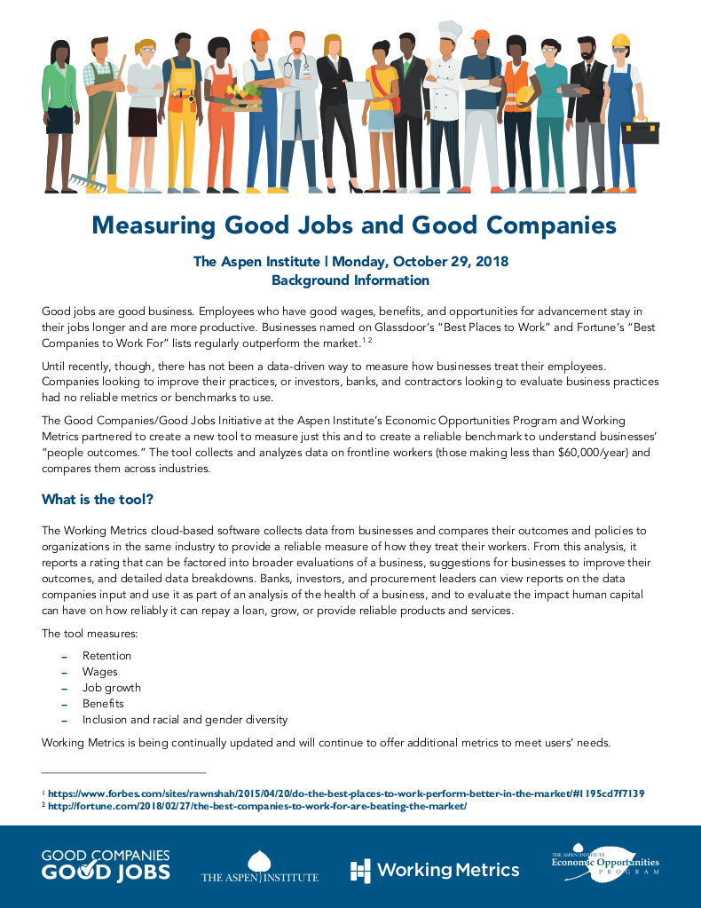 Measuring Good Jobs And Good Companies The Aspen Institute