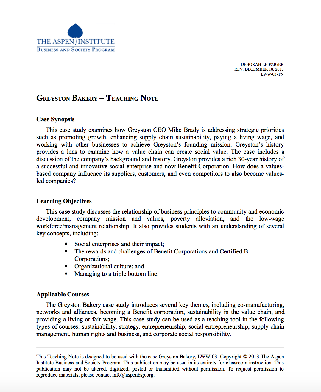 Greyston Bakery — Teaching Note