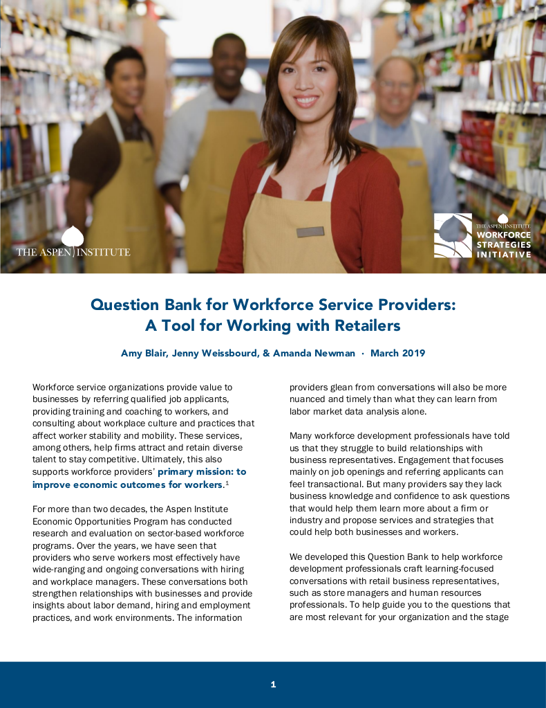 28ef79d74 Question Bank for Workforce Service Providers  A Tool for Working with  Retailers