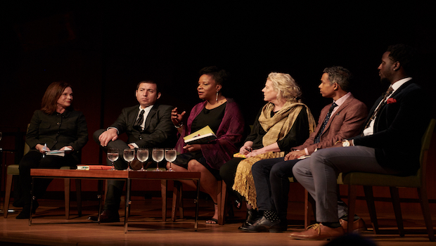 Tayari Jones on stage with other nominees for the Aspen Words Literary Prize.