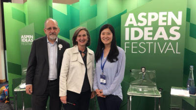 Mark Popovich, Joyce Klein, and Sarah Keh at the Aspen Ideas Festival
