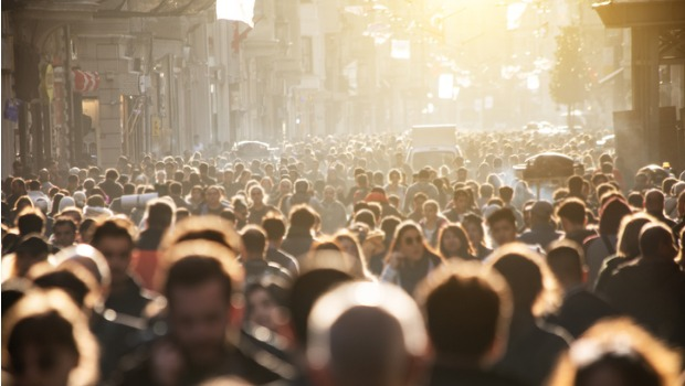 A crowded city street.