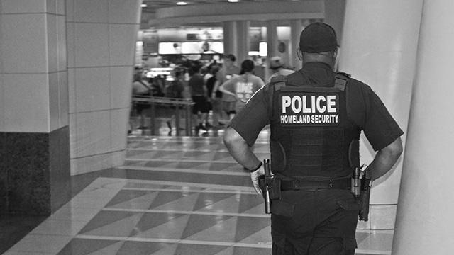 Homeland Security Officer On Patrol