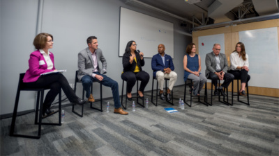 """Panel of speakers at """"What's in Store? The Future of Retail Work(ers),"""" presented by the Economic Opportunities Program and Pacific Community Ventures in San Francisco"""