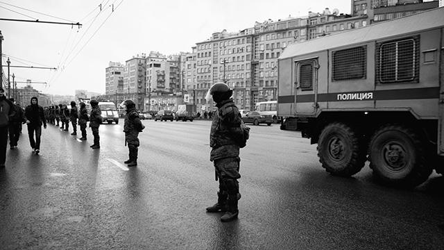 Police cordon near Bolotnaya square, Russia