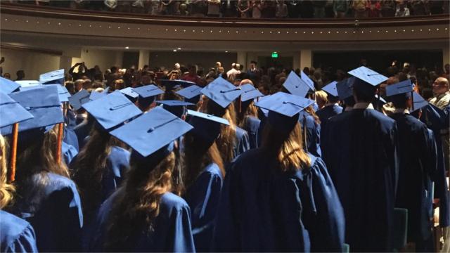 College graduates at commencement ceremony