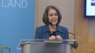 "Maureen Conway speaks at "" Help Wanted: Building Opportunity in Today's Labor Market,"" a panel discussion hosted by the City Club of Cleveland on August 2, 2019."