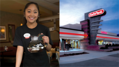 A smiling Eat'n Park team member holding a pot of coffee and an exterior view an Eat'n Park restaurant.