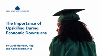 "Foreground: ""The Importance of Upskilling During Economic Downturns"" by Carol Morrison (i4cp) and Kevin Martin (i4cp). Background: Woman in graduation cap and gown staring into the distance"