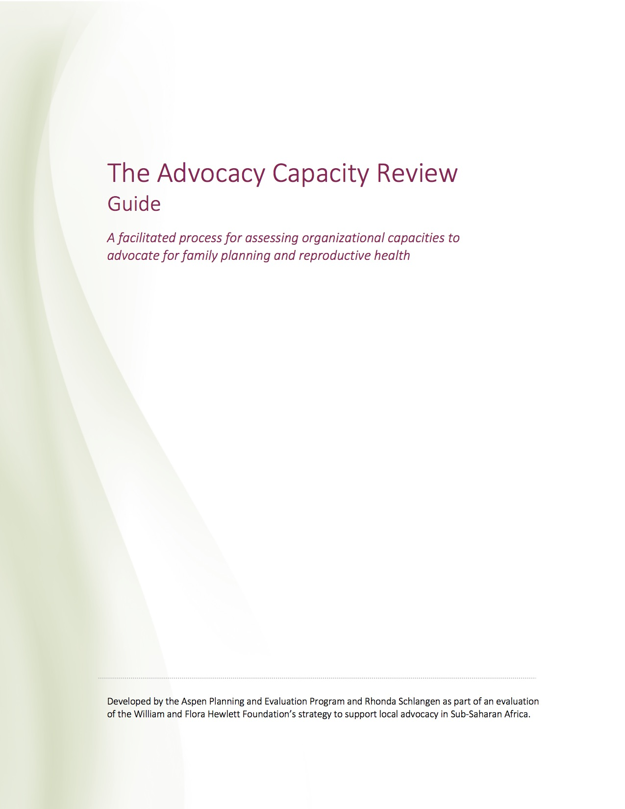 The Advocacy Capacity Review: Guide