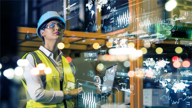 Woman in hard hat and reflector vest surrounded by technology symbols
