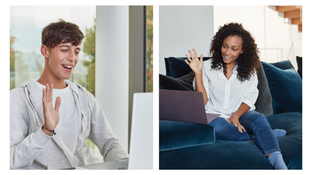 Photo of interns greeting each other virtually over computer