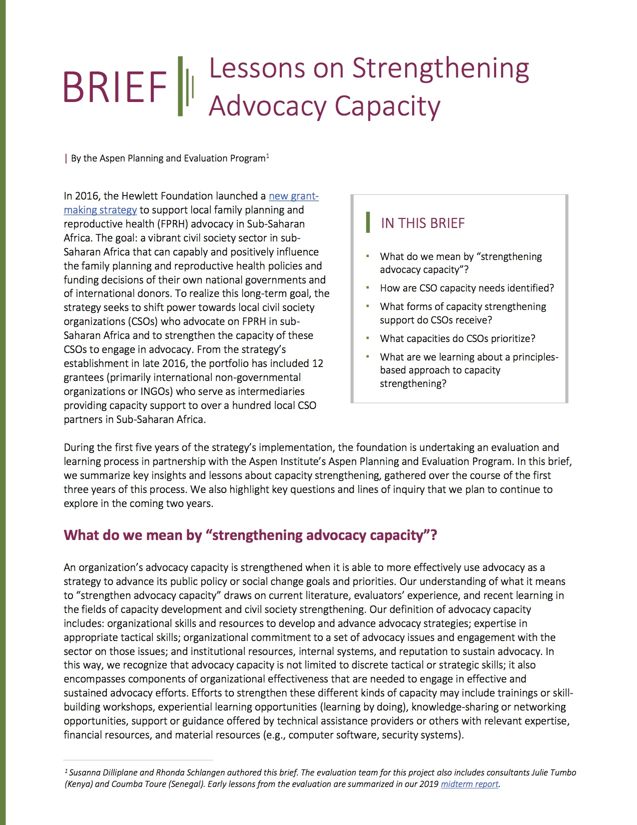 Brief: Strengthening Advocacy Capacity